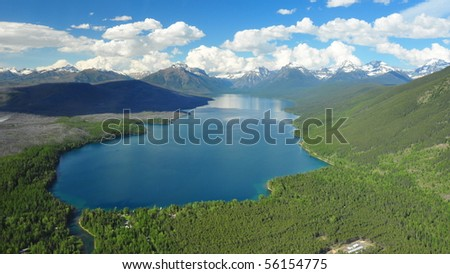 Aerial Shot of Lake McDonald, Glacier National Park - stock photo