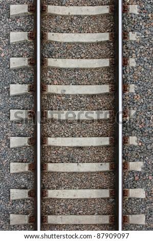 aerial shot of  railroad - stock photo