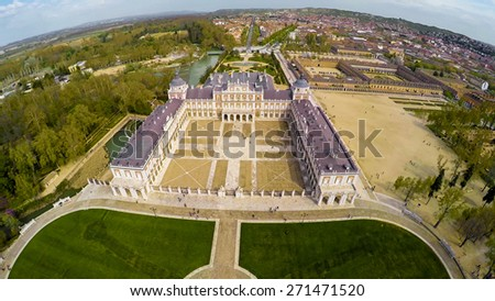 Aerial shot of Royal Palace of Aranjuez, a residence of the King of Spain, Aranjuez, Community of Madrid, Spain. UNESCO World Heritage / STUNNING VIDEO AVAILABLE (UHD Quality) on my footage gallery. - stock photo