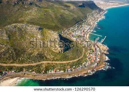 Aerial shot of Table Mountains and Indian Ocean in Cape Town, South Africa - stock photo