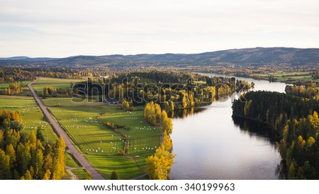Aerial shot of the river in Jarvso, Sweden