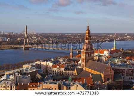 Aerial simmer day view of old town and Daugava river from St Peter church, with Riga Cathedral, Latvia