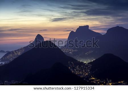 Aerial sunset view of Rio De Janeiro,Brazil - stock photo