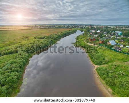 Aerial Sunset view of Vologda River in Russia