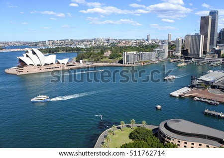 Aerial urban landscape view of Sydney Circular Quay, Sydney Cove in Sydney New South Wales, Australia.