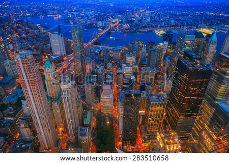 Aerial veiw of Downtown Manhatton New York  - stock photo