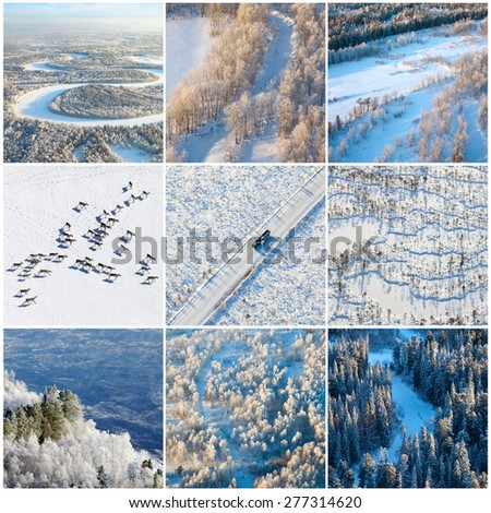 Aerial view above winter landscape - stock photo