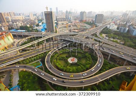 Aerial view at City viaduct bridge road landscape - stock photo