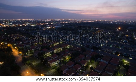 aerial view at dusk of home village in bangkok thailand