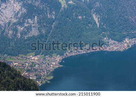Aerial view at Hallstatt in high Alps Austria - stock photo