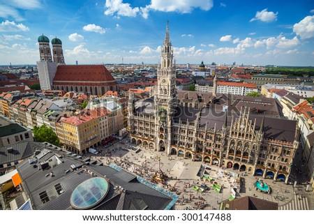 Aerial view at Marienplatz town hall - Munich - Germany - stock photo
