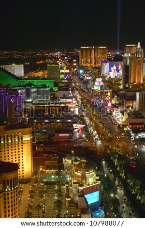 Aerial view at night from Eiffel Tower of Las Vegas Strip , Las Vegas, Nevada