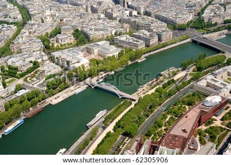 Aerial view at Paris architecture from the Eiffel tower - stock photo