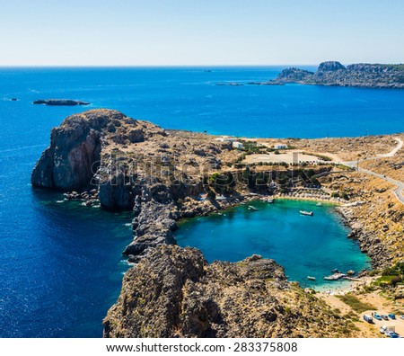 Aerial View at Saint Paul Bay from Lindos  Rhodes island, Greece. - stock photo