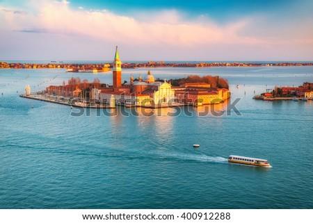 Aerial view at San Giorgio Maggiore island, Venice, Italy - stock photo