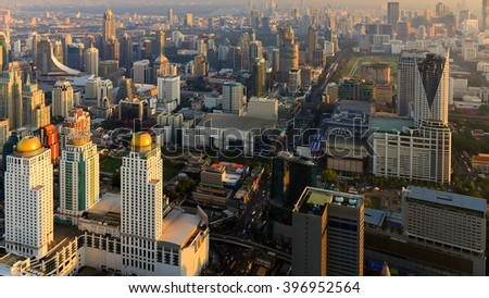 Aerial view Bangkok city downtown before sunset, Thailand - stock photo