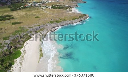 Aerial View Barbados Beach - stock photo