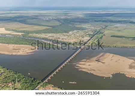 Aerial view - bridge over the Rio Branco River on the state of Roraima, Brazil - stock photo