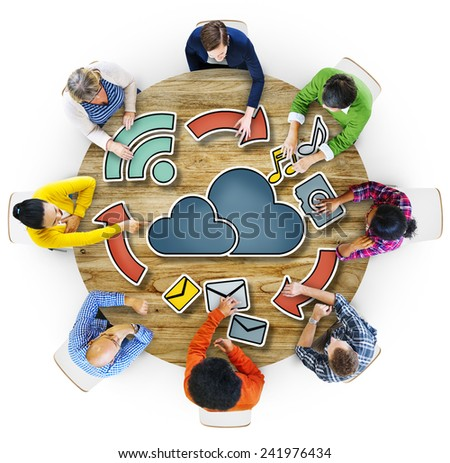 Aerial View Business People Cloud Computing Connection Concepts - stock photo