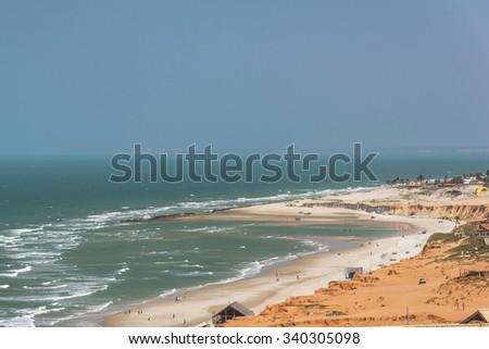 Aerial View - Canoa Quebrada Beach, Ceara, Brazil - stock photo