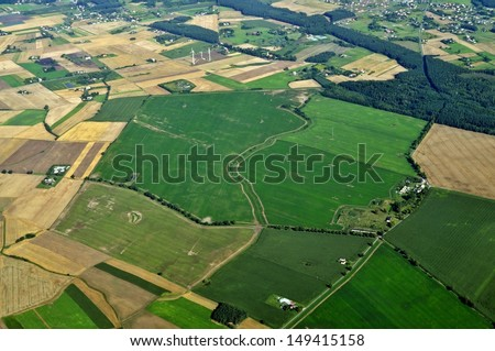 Aerial view - Central Poland - stock photo