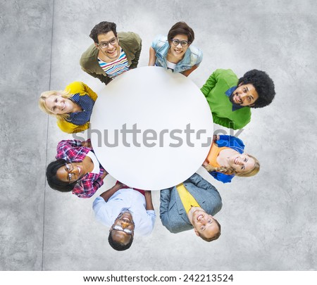 Aerial View Cheerful People Looking Up Conference Table - stock photo