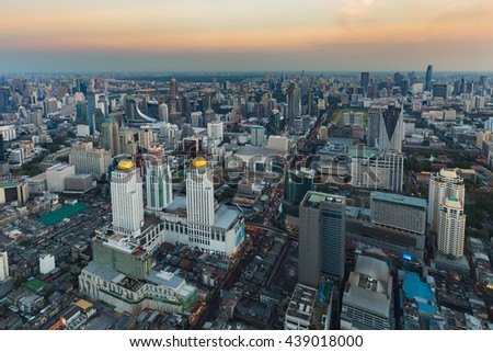 Aerial view city central business downtown skyline, Bangkok Thailand  - stock photo