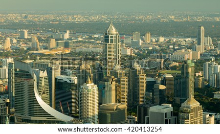 Aerial view, city office building downtown - stock photo