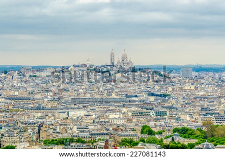 Aerial view cityscape of Paris in France.