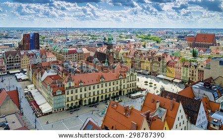 Aerial view during a sunny day on the market square in Wroclaw, Poland. - stock photo