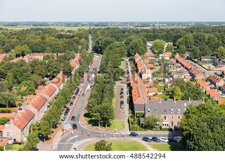 Aerial view family houses in residential area of Emmeloord, The Netherlands
