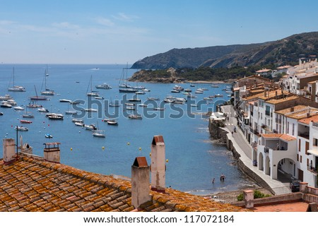 Aerial view from above of Cadaques bay, Costa Brava, Spain - stock photo