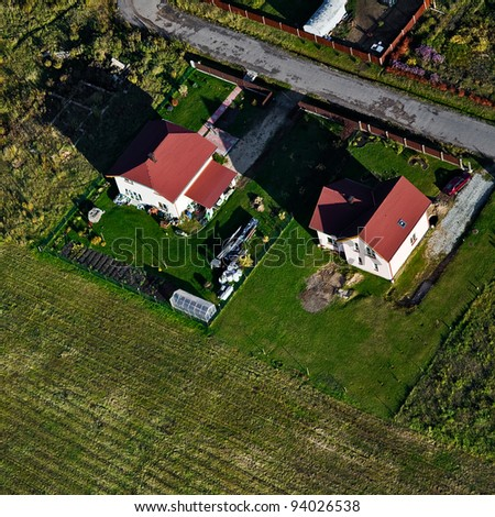 aerial view from above over gardening - stock photo