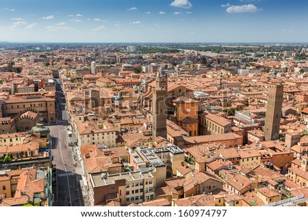 aerial view from Asinelli tower in Bologna in Italy