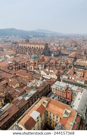 Aerial view from Asinelli Tower of Bologna, the largest city of the Emilia-Romagna Region in Italy.