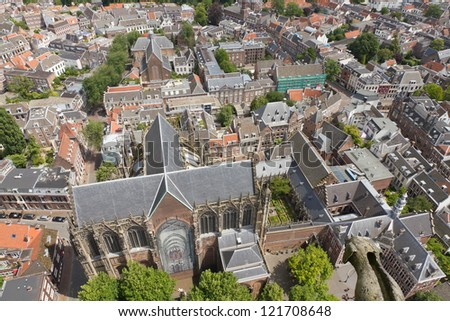 Aerial view from Dom tower over Utrecht, Netherlands
