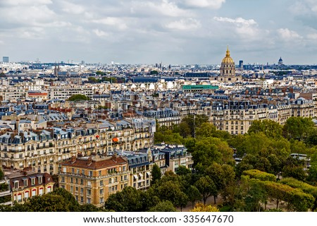 Aerial view, from Eiffel tower, with Dome des Invalides ( Les Invalides ) in Paris, France. - stock photo