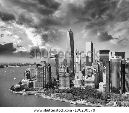 Aerial view from Helicopter of Lower Manhattan area at sunset - NYC. - stock photo