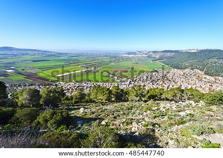 Aerial View from Mount Tabor to Arab City and Jezreel  Valley in Israel