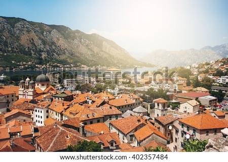 Aerial View from Mountain on Kotor Bay and Old Town, Montenegro. Sunny Day in Kotor. - stock photo