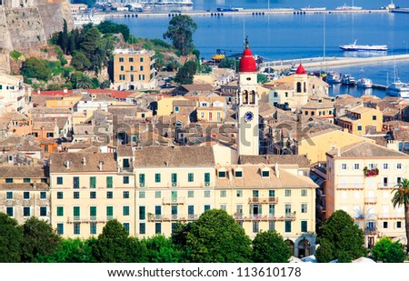 Aerial view from Old fortress on the city with  New Fortress, Kerkyra, Corfu island, Greece - stock photo