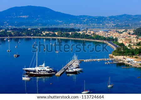 Aerial view from Old fortress on the marina with yachts, Kerkyra, Corfu island, Greece - stock photo