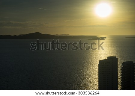 Aerial view from pattaya park tower can see a beautiful sunset - stock photo