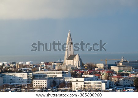Aerial view from Perlan to Hallgrimskirkja church and Reykjavik city center, Iceland - stock photo
