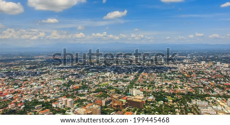 Aerial view from plane of Chiang Mai City, Thailand - stock photo