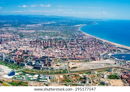 Aerial view from plane on Valencia, Spain