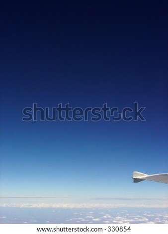 aerial view from plane, sky with clouds - stock photo