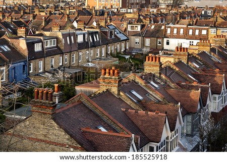Aerial View from Rogers Stirks Harbour + Partners on Roofs and Houses of Hammersmith, London, United Kingdom - stock photo