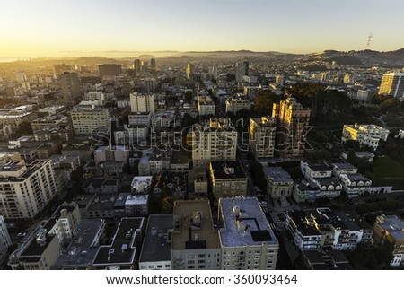 Aerial view from San Francisco's Pacific Heights in brilliant morning light - stock photo
