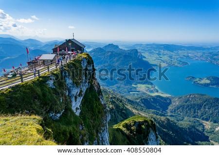 Aerial view from Schafberg peak to Mondsee, Austria - stock photo